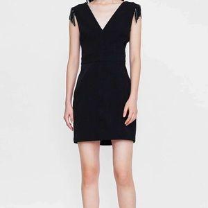 Zara Dress Black Fringe Sleeveless Dress Sz M